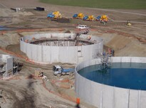 Preco precast concrete reservoirs under construction and in use